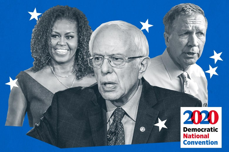 Michelle Obama, Bernie Sanders, and John Kasich surrounded by stars on a blue background.