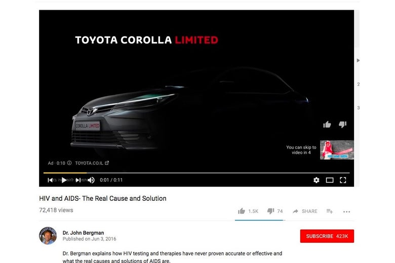 Screenshot from YouTube showing Toyota Corolla ad playing before a conspiracy video about HIV and AIDS.