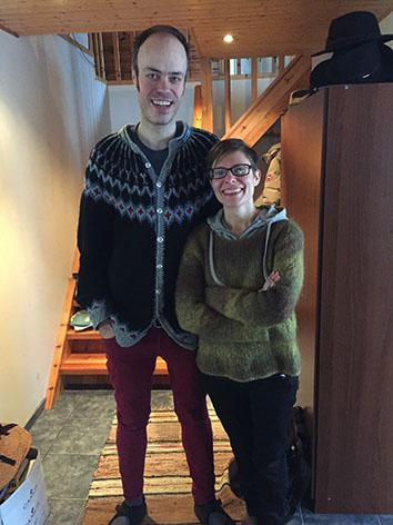 Photo of Eiríkur Örn Norðdahl and Nadja Widell at their home in Ísafjörður.