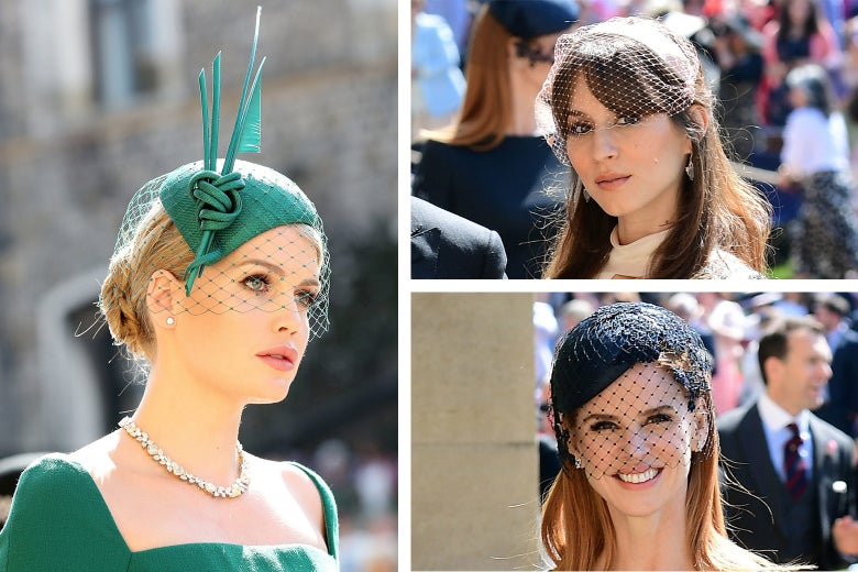 Lady Kitty Spencer wears a green fascinator with a veil and tall, pointed accent, Troian Bellisario wears a beige veil, and Sarah Rafferty wears a black veil.