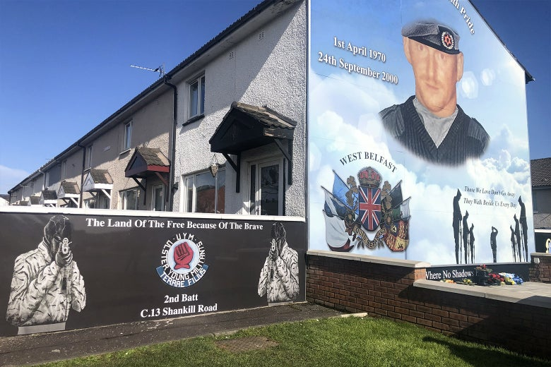 A mural commemorating loyalist paramilitaries in a working-class Protestant community in Belfast.