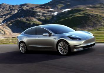 A Tesla Motors mass-market Model 3 electric car from Tesla Motors on March 31, 2016.