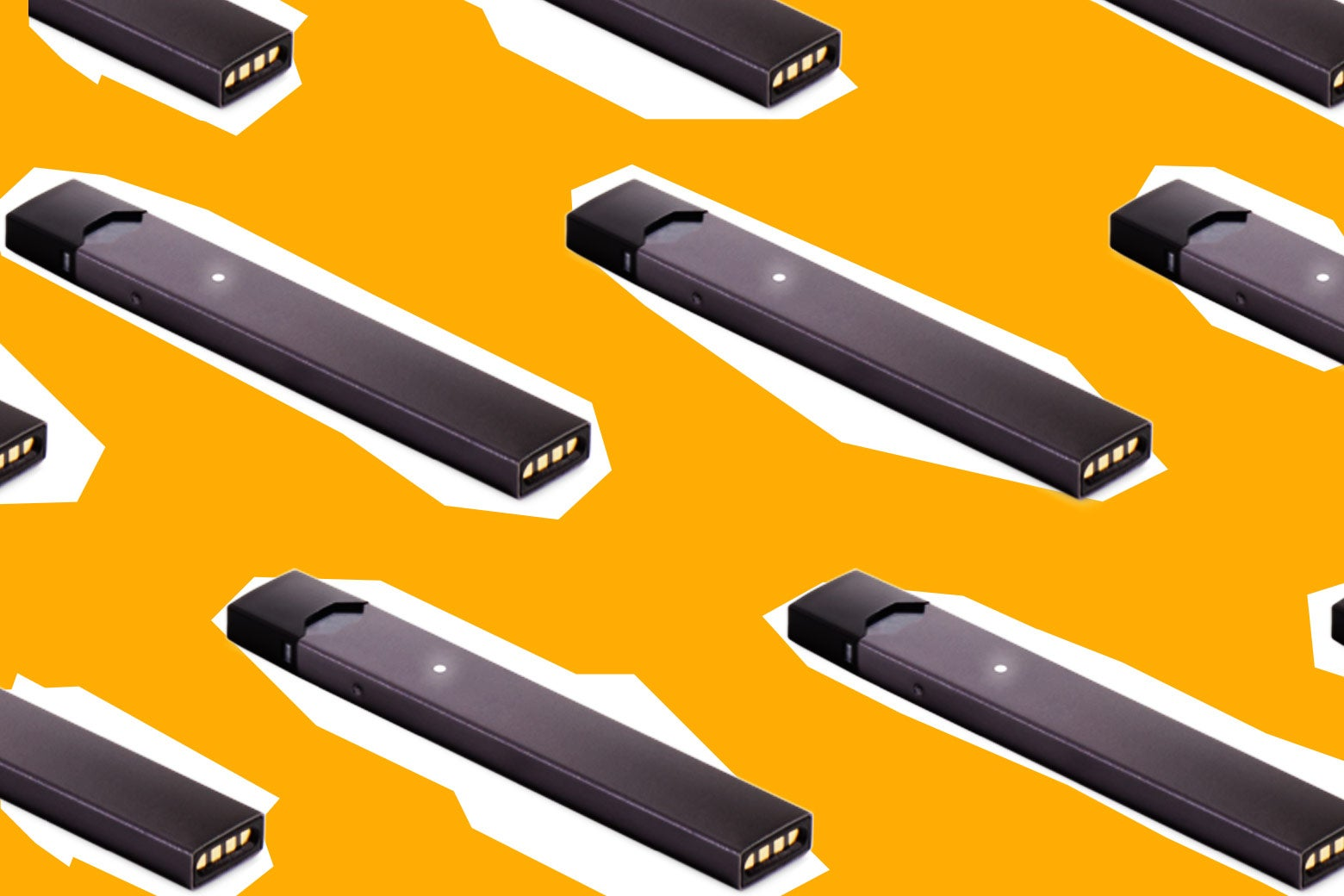 Photo illustration: several Juul pens lined up.