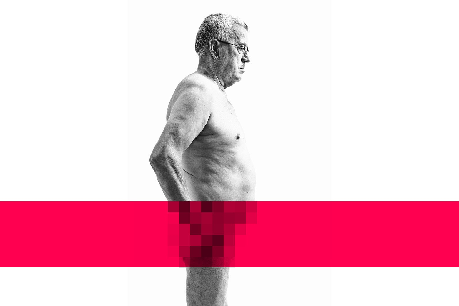 An older man, naked, with a red bar and pixelation across his nether regions.