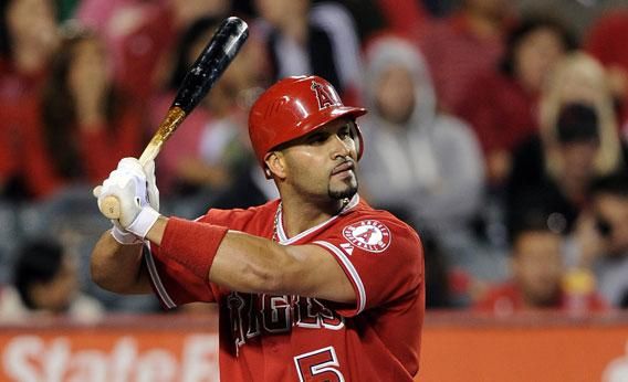 Albert Pujols #5 of the Los Angeles Angels at bat against the Oakland Athletics.