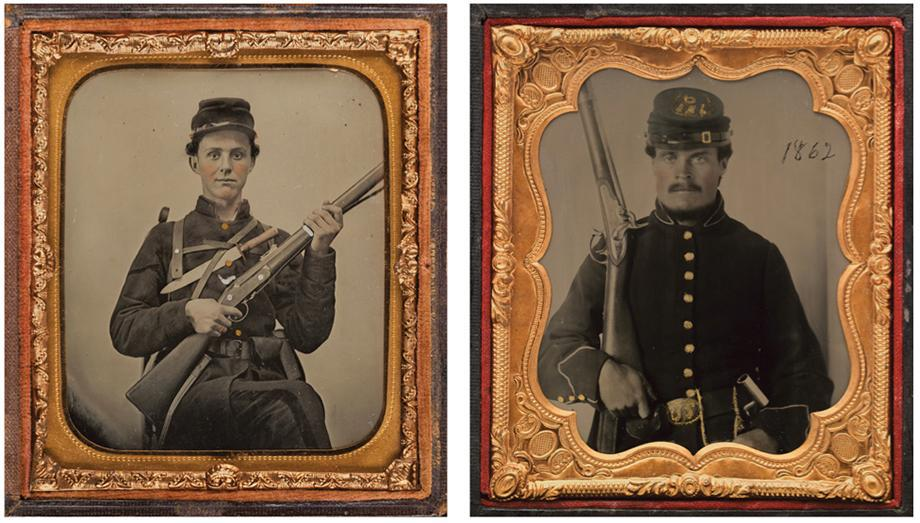 (left) Confederate Corporal with British Rifle Musket and Bowie Knife, Likely from Georgia, 1861–62 (?). Sixth-plate ambrotype with applied color, (right) Union Soldier with Rifle,1862. Sixth-plate ruby glass ambrotype with applied color