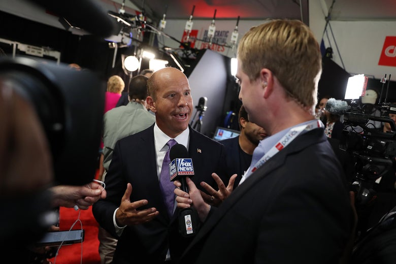 DETROIT, MICHIGAN - JULY 30: Democratic presidential candidate former Maryland congressman John Delaney speaks to the media in the spin room after the Democratic Presidential Debate at the Fox Theatre July 30, 2019 in Detroit, Michigan. 20 Democratic presidential candidates were split into two groups of 10 to take part in the debate sponsored by CNN held over two nights at Detroit's Fox Theatre.  (Photo by Justin Sullivan/Getty Images)