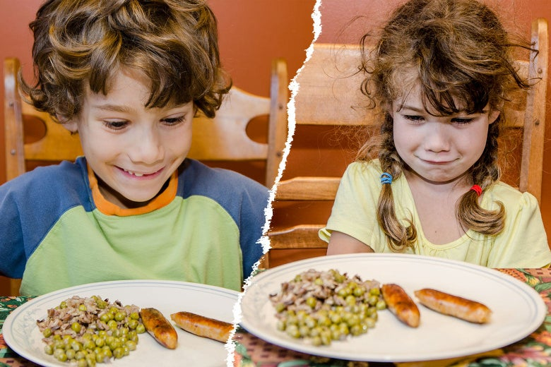 Diptych of one child excited about and one child repulsed by the same plate of peas, rice, and sausage links.