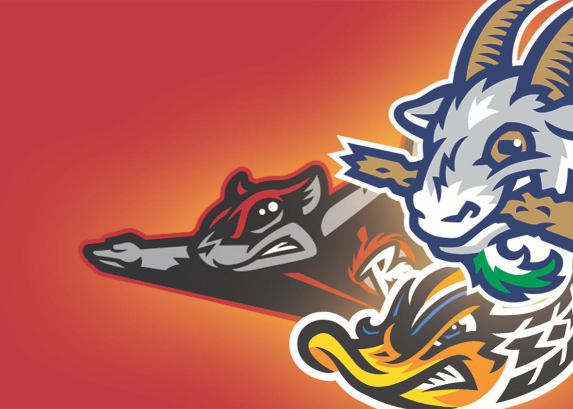 Logos for Flying Squirrels, Hartford Yard Goats, and Akron Rubbe