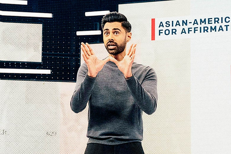 "Hasan Minhaj on stage with a chart. ""Srcset ="" https://compote.slate.com/images/43e3a041-3ae8-494a-abeb-da42a6e98722.jpeg?width=780&height=520&rect=1200x800&offset=0x0 1x, https / / /compote.slate.com/images /43e3a041-3ae8-494a-abeb-da42a6e98722.jpeg?width=780&height=520&rect=1200x800&offset=0x0 2x"