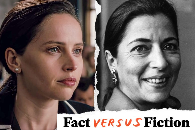 Photo illustration of Felicity Jones and a younger Ruth Bader Ginsburg.
