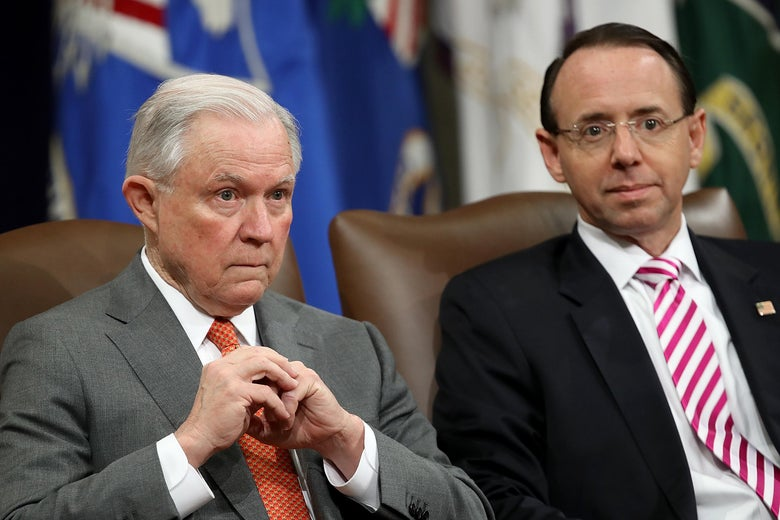 U.S. Attorney General Jeff Sessions and Deputy Attorney General Rod Rosenstein attend the Religious Liberty Summit at the Department of Justice July 30, 2018 in Washington, DC.