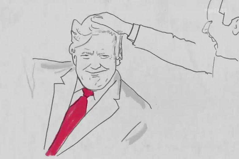 A rotoscoped image of Jimmy Fallon mussing Donald Trump's hair on The Tonight Show.