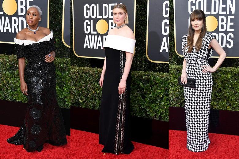 Cynthia Erivo, Greta Gerwig, and Lorene Scafaria pose on the Golden Globes 2020 red carpet.