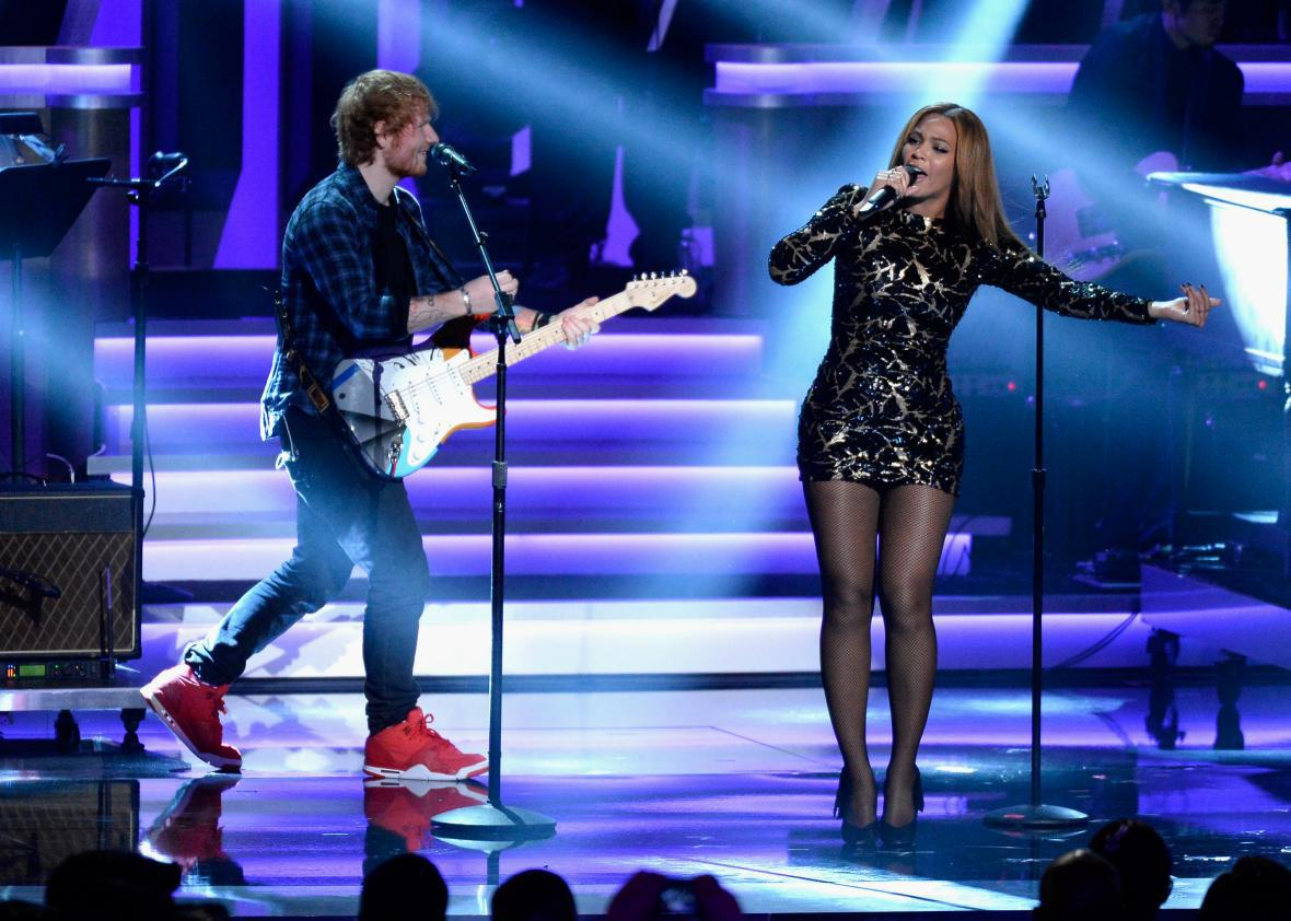 Ed Sheeran and Beyoncé performing together at the Grammys in 2015.
