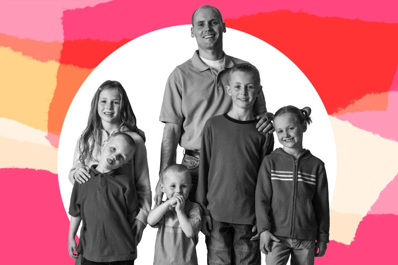 A man stands proudly with his five children.