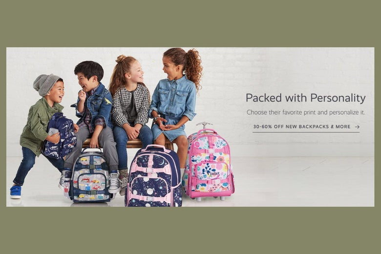 """Four kids are seen close together with backpacks. Text on the right reads """"Packed with Personality"""" and offers a deal."""