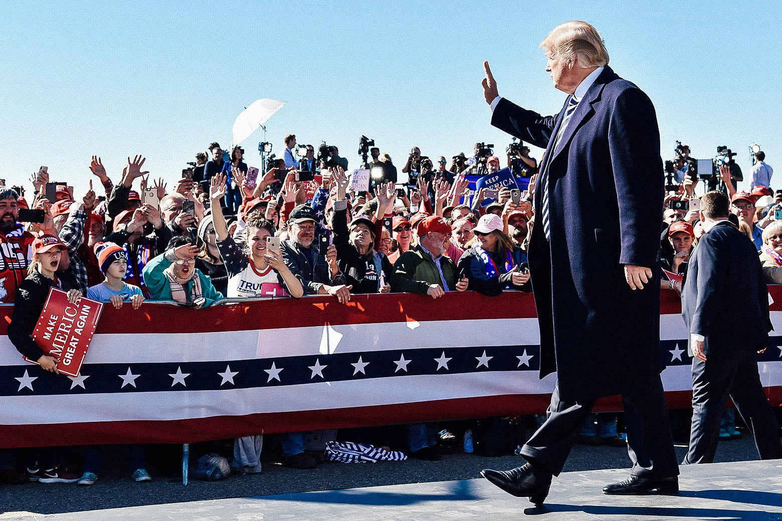 President Donald Trump arrives for a Make America Great Again rally in Elko, Nevada on Saturday.