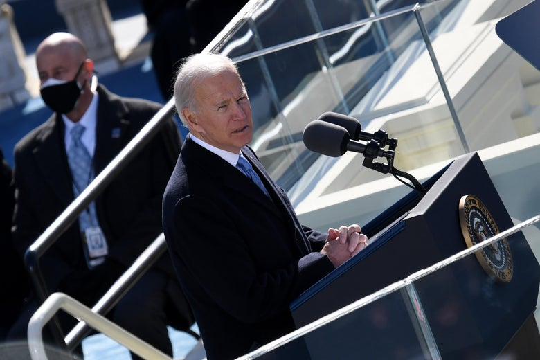 US President Joe Biden delivers his inauguration speech after being sworn in as the 46th president of the US on January 20, 2021, at the US Capitol in Washington, DC. (Photo by OLIVIER DOULIERY / various sources / AFP) (Photo by OLIVIER DOULIERY/AFP via Getty Images)