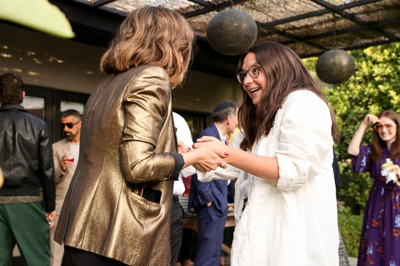 Noa Tishby and Bari Weiss attend Tishby's  book launch event on April 6, 2021 in Los Angeles, California.