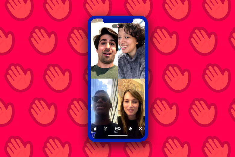 Screenshot of a phone screen open to a four-person Houseparty chat