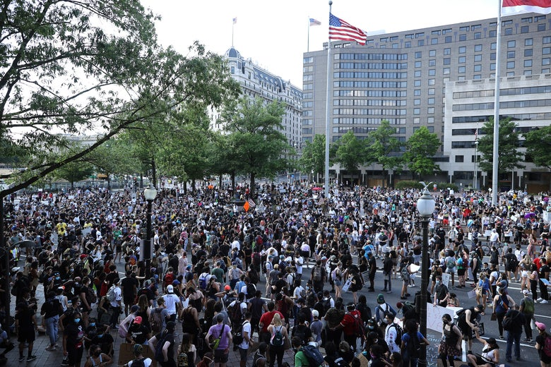 Demonstrators gather at Freedom Plaza during a protest against police brutality and racism on June 6, 2020 in Washington, D.C.