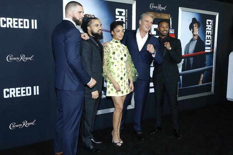 Florian Munteanu, Steven Caple Jr,. Tessa Thompson, Dolph Lundgren, and Michael B.Jordan attend 'Creed II' New York Premiere.
