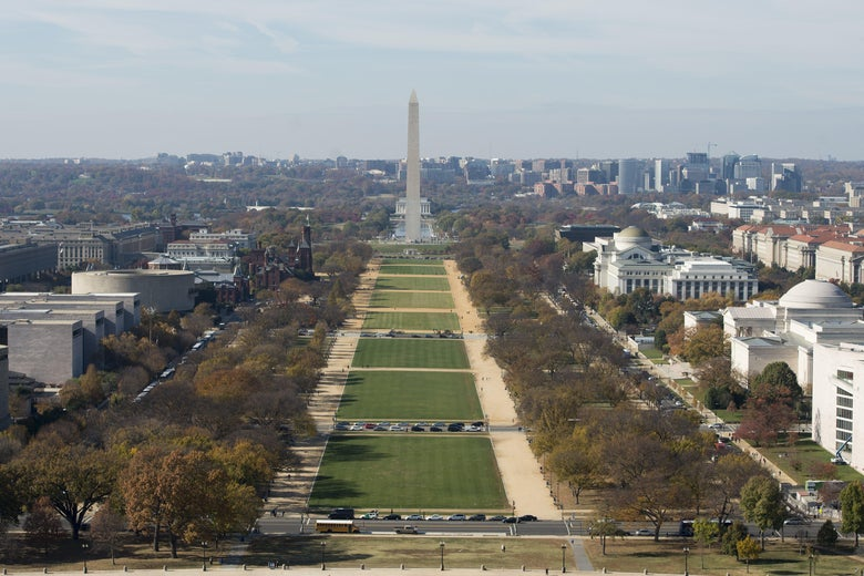 Bird's eye view of the National Mall.