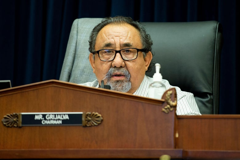House Natural Resources Committee Chairman Raul Grijalva (D-Ariz.) makes a closing statement during a hearing on Capitol Hill in Washington, D.C, on June 29, 2020.