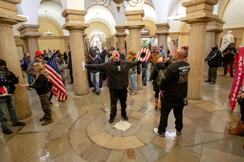 A man screams inside the U.S. capitol.