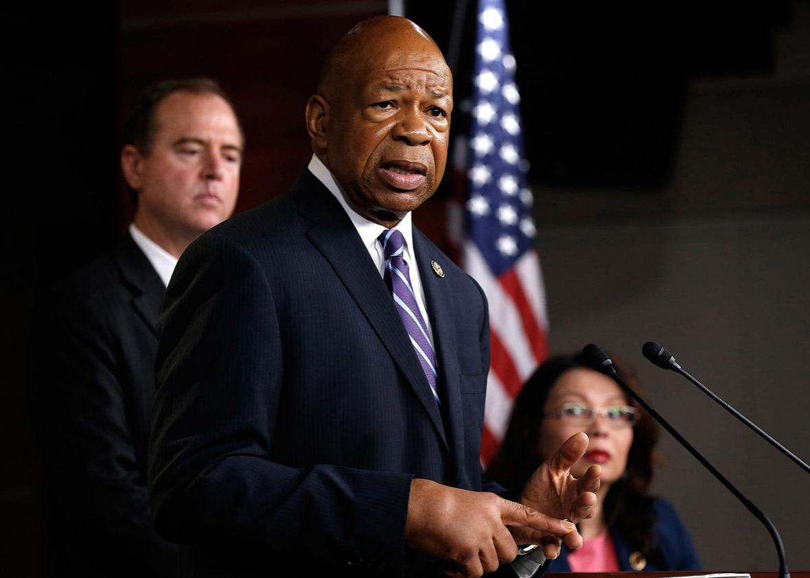 Rep. Elijah Cummings (C) (D-MD) speaks during a press conference by Democratic members of the House Select Committee on Benghazi September 16, 2014 at the U.S. Capitol in Washington, DC.
