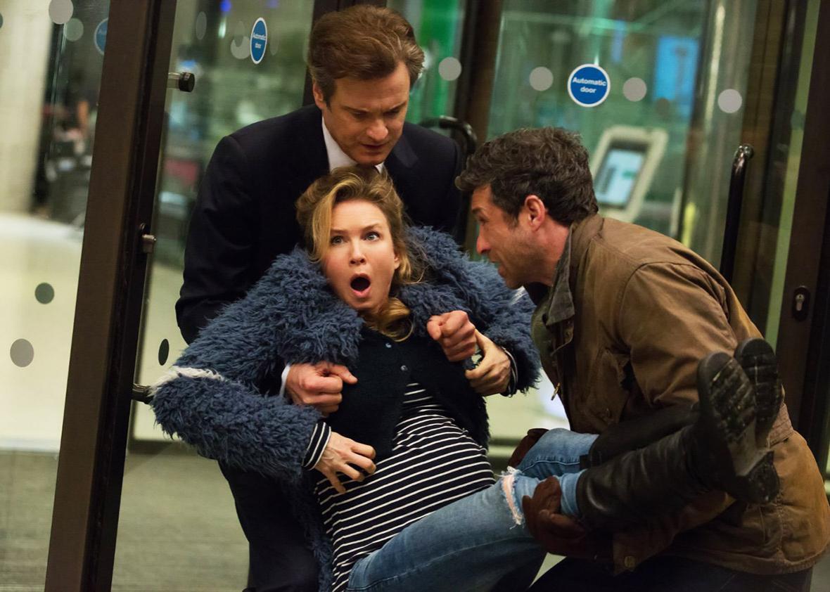 Colin Firth, Renée Zellweger, and Patrick Dempsey in Bridget Jones's Baby.