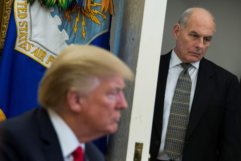 Chief of Staff John Kelly looks on as President Trump during an Oval Office meeting on February 2, 2018.