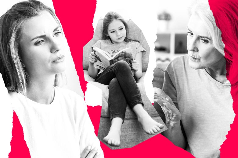 Photo illustration of two women arguing over a preteen girl reading.