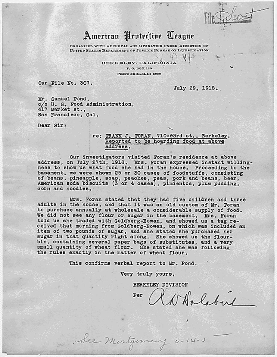 American Protective League letter