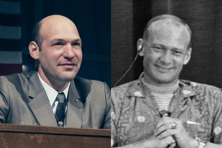 Images of Corey Stoll and Buzz Aldrin.