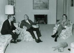 President Richard Nixon FBI director J. Edgar Hoover and Nixon bag man Bebe Rebozo.