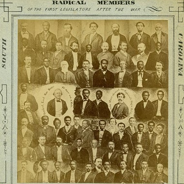 Commemorative card of black and white Radical legislators in South Carolina during Reconstruction.