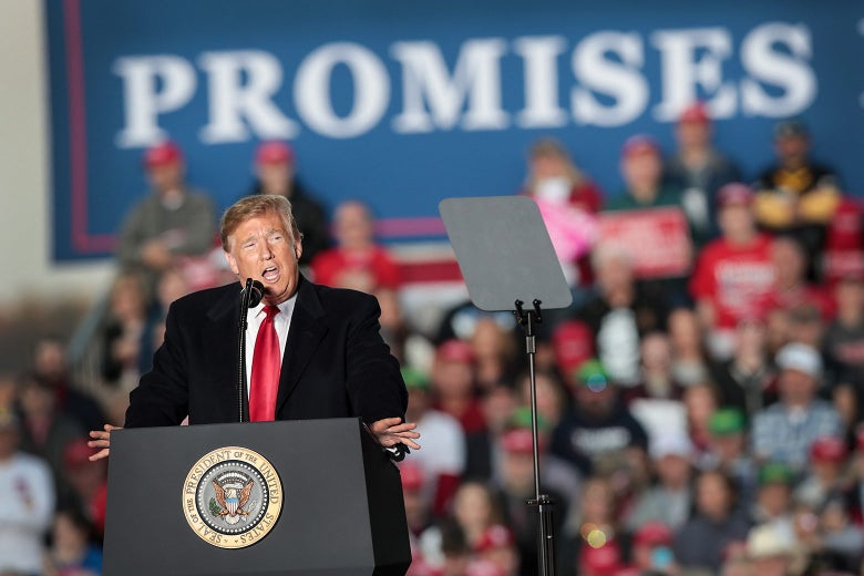 President Donald Trump speaks to supporters during a rally on Saturday in Murphysboro, Illinois.