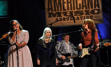 Brittany Howard of Alabama Shakes, Emmylou Harris, Buddy Miller and Bonnie Raitt perform at the 11th Annual Americana Honors & Awards at The Ryman Auditorium in September in Nashville, Tennessee.