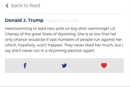 "Screenshot of Trump post mocking Cheney for being a ""big-shot warmonger"" and having low poll numbers"