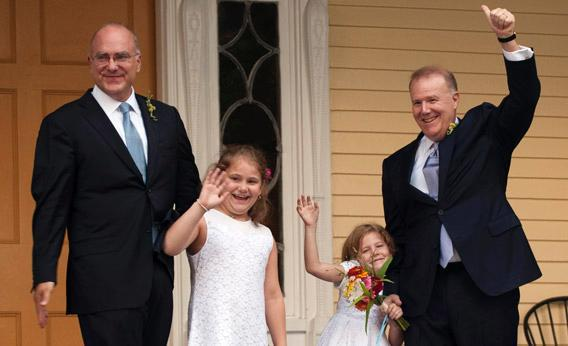 A gay couple marries at Gracie Mansion in New York.