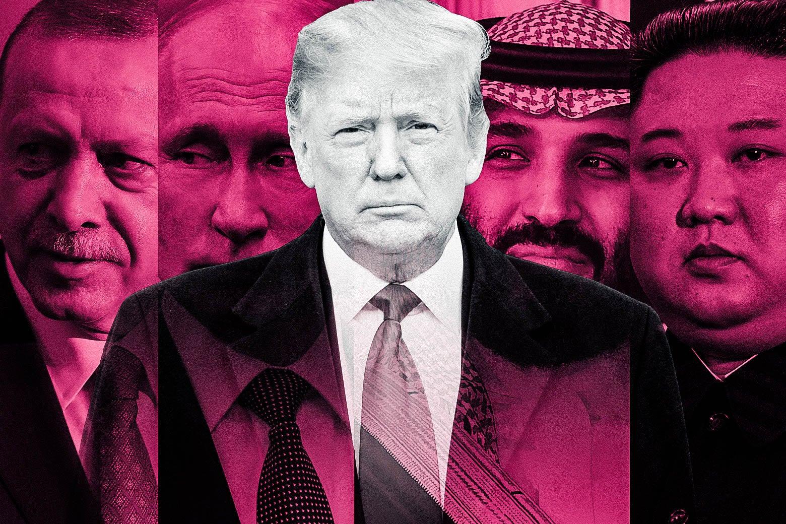 Donald Trump flanked by photos of Recep Tayyip Erdogan, Vladimir Putin, Mohammed bin Salman, and Kim Jong-un.