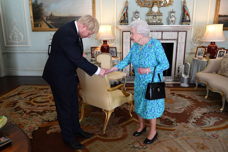 Boris Johnson meets the queen in Buckingham Palace after becoming prime minister in July.