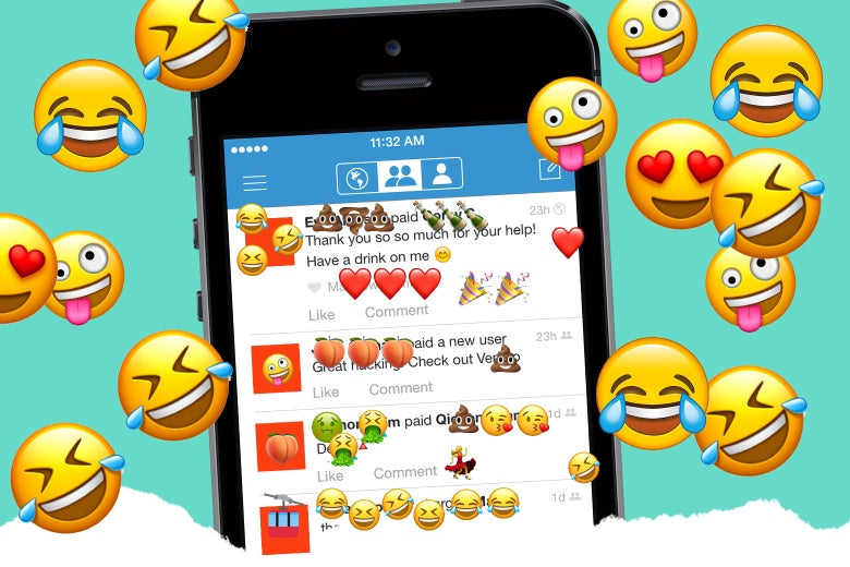 A Venmo app screen with laughing emoji all over it.