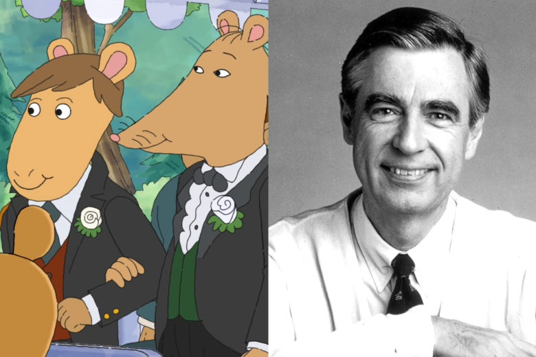 Mr. Ratburn marrying his partner on Arthur and Fred Rogers.