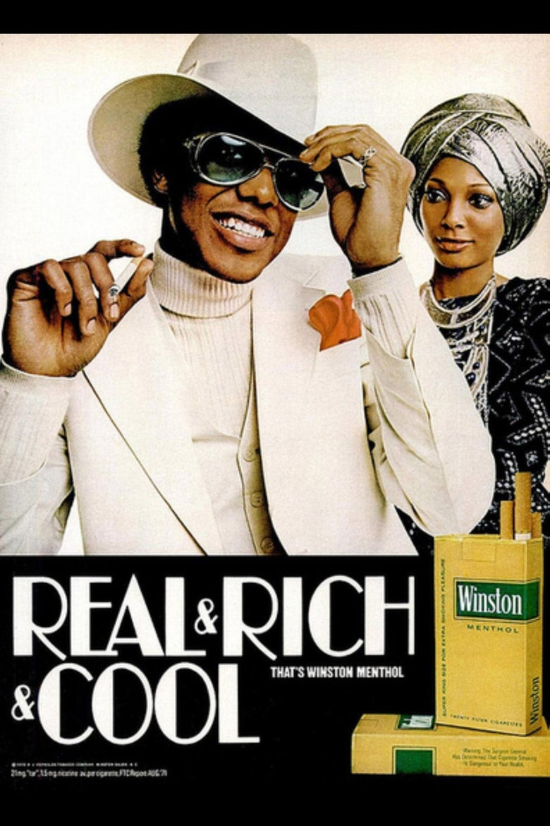 """A Winston cigarette ad with a lavish Black couple and the slogan """"Real Rich & Cool."""""""