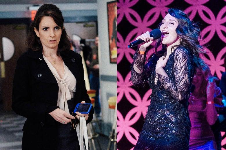 Side by side stills of Tina Fey as Liz Lemon in 30 Rock and Sara Bareilles as Dawn in Girls5eva.