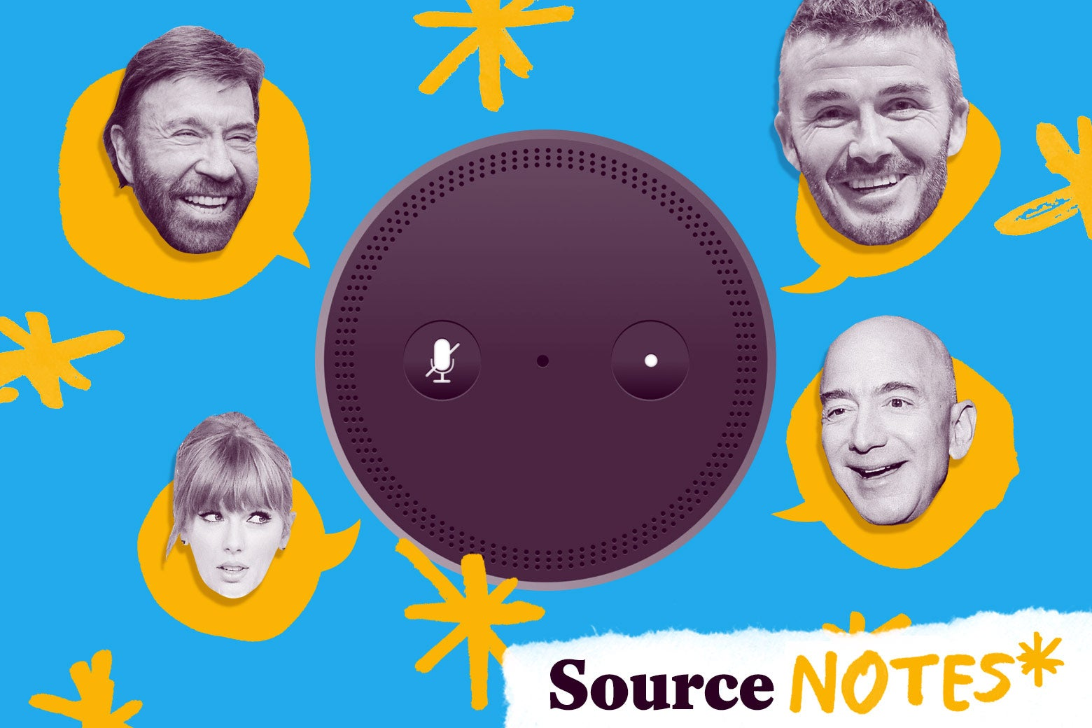 An Echo with speech bubbles featuring the heads of celebrities.
