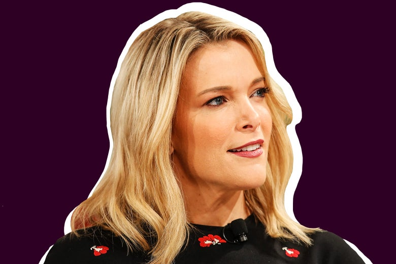 A cutout of blonde Megyn Kelly, looking off camera, set against a maroon background.